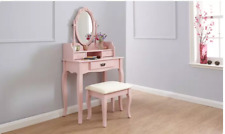 Dressing Table, Oval Mirror & Stool Set (3 Drawer) Bedroom Makeup Desk 5 colour