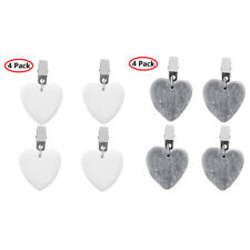 4PCS Heart Shape Marble Tablecloth Weights W/Metal Clips Clamp for Table Covers