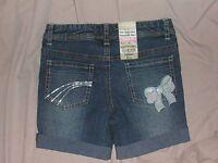 Girls sz 5 regular Arizona denim shorts w/ bling embelishments ADJUSTABLE WAIST