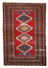 Handmade vintage Uzbek Bukhara rug 4.2' x 6.5' (128cm x 199cm) 1960s - 1C615