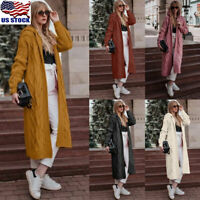 Women Hoodie Knitted Cardigan Jacket Open Front Hooded Long Sweater Coat Outwear
