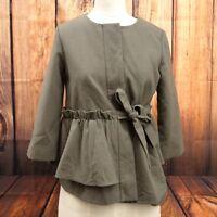 New Halogen Womens Felt Gray Side Tie Button Up Blazer Jacket Frill Size XS