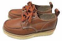 Work America Brown Leather Lace Up Moc Toe Crepe Sole Wedge Shoe Men's US 7 D