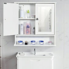White Bathroom Cabinet Wall Mounted Mirrored Double Door Storage Cupboard Shelf