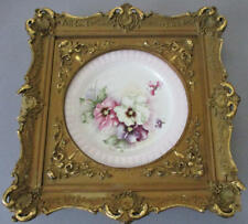 "Antique Ornate 12"" GILT Wood + Gesso Frame Hand Painted Porcelain Plate PANSIES"