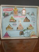 Vintage christmas Santaville light up 8 house plastic set w org box 1950's