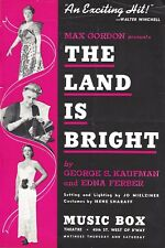 """Diana Barrymore """"THE LAND IS BRIGHT"""" George S. Kaufman 1941 Broadway Flyer"""