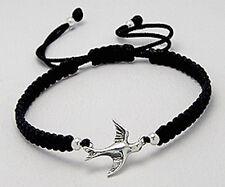 "6""-9"" SO PRETTY Woven Black Thread Bracelet with Bird Charm HANDMADE"