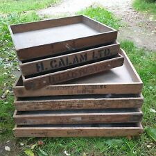 More details for 7 x vintage wooden bakers bread trays with advertising - shop display