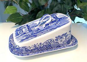 Spode Blue Italian (England) Covered Cheese Wedge Dish