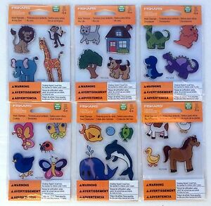 Lot of 6 Fiskars Kids Stamps Clear Acrylic Stamp Sets, 26 Animal Stamps NIP