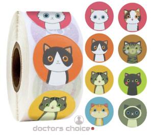 🐈 Cat Reward School Thank You Party Bag Stickers Labels Happy Birthday Kid 25mm
