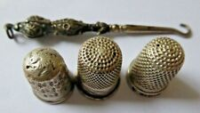 3 x Antique Charles Horner Silver Thimbles and a Silver Handled Lace Hook