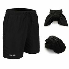 SANTIC Mens Padded Baggy Cycling Shorts Black Medium