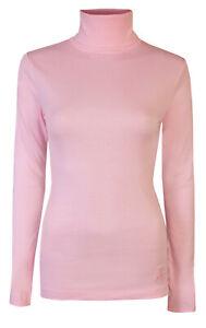 Ladies Roll Necks Tops Womens Polo Necks Plain Winter Ski Cotton Pink Size M