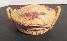 Antique Covered Basket with Beautiful Hand Embroidery***Beautiful!***
