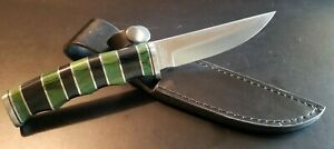 Black and Green stacked wood handle Bowie Hunting w/ Sheath - Vintage - Mint!!