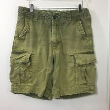 HOLLISTER Mens Green Heavy Duty Cargo Shorts 100% Cotton Distressed Button Fly L