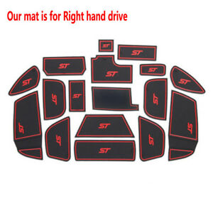 Red Rubber Non-slip Inner Gate Slot Pad Cup Mats fits Ford Focus ST 2015-2018
