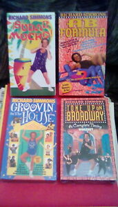 Richard Simmons (4) VHS LOT Tone Up On Broadway / Ab Formula / Sudar Mucho! NEW