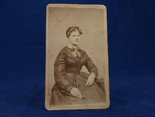 E.A. Beach CDV Portrait LaCrosse Wisc CWE Lady Woman Tight Curls Chatelaine