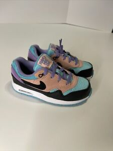 Nike Air Max 1 Have A Nike Day BQ7214-001 Black/Purple/Coral Size 10c Toddler