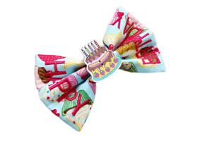 Birthday Cake Embroidered Bow Tie - Cupcake Fabric - 'Happy Birthday'