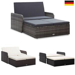2-tlg.Garten-Lounge-Set Poly Rattan Sofa Couch Bankhocker Sitzgruppe Gartenmöbel