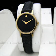 Women's Movado MUSEUM CLASSIC Gold Case Black Dial Leather Swiss Quartz Watch