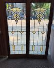 2 Antique Chicago Arts Crafts Stained Leaded Glass Oak Cabinet Door Window
