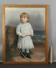 Antique Napoleon Sarony Pastel Portrait Drawing, Victorian Young Boy w/ Hoop Toy
