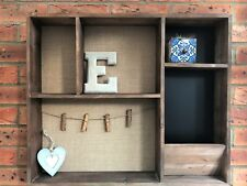 Vintage Wooden Wall Unit Shabby Storage Cubby Shelf Tidy Memo Board Letter Rack