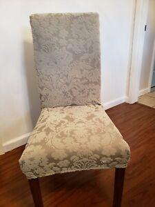 4 Surefit Short Dining Chair Slipcovers Damask Matelasse Mint Green