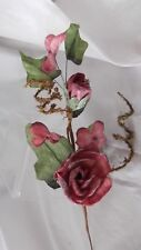 """10"""" PARCHMENT(PAPER)FLOWERS  ROSE SPRAY BURGUNDY FROSTED LEAVES CRAFTS"""
