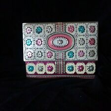 Baret Ware Vintage Hinged Floral Tin England Rectangular Box Pink Aqua Gold
