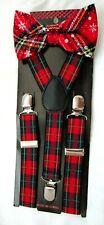 Christmas Kids Teens Plaid Snowflakes Adjustable Bow Tie & Plaid Suspenders-New!