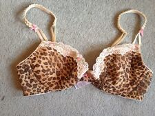 Marks & Spencer Collette Dinnigan Leopard Animal Print Pink Bow Cream Lace Bra