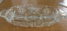 Vintage Pressed Glass Divided Middle Serving Dish Tray Candy Nut Condiments