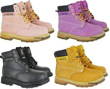 LADIES PINK GROUNDWORK SAFETY STEEL TOE CAP LEATHER WORK HIKING BOOTS SIZE 3-8