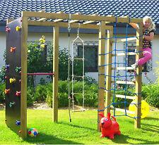 XXL Klettergerüst 2,4m Kletterturm Spielturm mit Kletternetz Reckstange Leiter