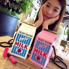 Fashion Portable Women Canvas Mini Milk Box Coin Purse Makeup Shoulder Bag New