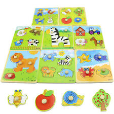 4 Shape Wooden Adjustable Colorful Animal Puzzle Toy Baby Kids Educational Brick