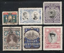 Danish West Indies 1905-11 Christmas Seals 6 Stamps Mint or Used Look!