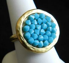Yellow Gold 24K Plated Round Ring Turquoise Crystal Rock Stones Sz 8