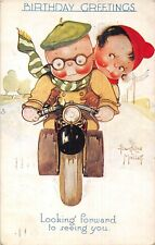 POSTCARD  CHILDREN  MOTOR  BIKE  Related  Looking  BIRTHDAY   B  MALLET     TUCK