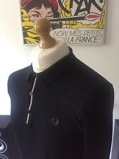 Fred Perry Black Collared Jumper S - M Tipped Mod 60s Ska Skins Casuals Ivy