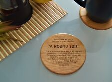 A Round Tuit Oak wooden Coaster present christmas rustic funny vintage gift