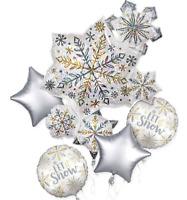 CHRISTMAS HOLOGRAPHIC SNOWFLAKE FOIL BALLOON BOUQUET LET IT SNOW FROZEN PARTY