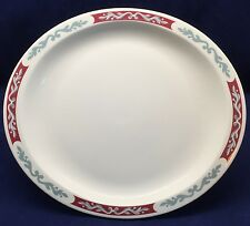 Syracuse China Embassy Oval Platter Maroon Border Gray Scroll Red Restaurant