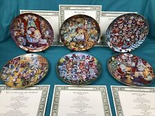 """Lot of 6 Bill Bell Franklin Mint Limited Edition 8"""" Cat Plates w/ Certificates"""